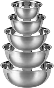 Stainless Steel Mixing Bowls - 5 Pack Top Quality Nesting Baking Supplies for Cooking, Serving, Food Prep - Dishwasher Kitchen Set, Stackable Salad Bowl for Easy Storage by Pinnacle Plate