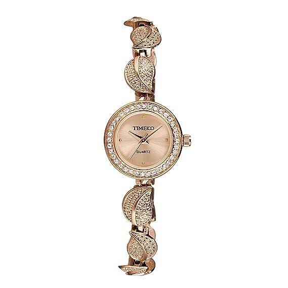 Time100 W40121L.03A Reloj pulsera de joya para mujer, correa símbolo de hoja, de color dorado: Time100 Watch: Amazon.es: Relojes