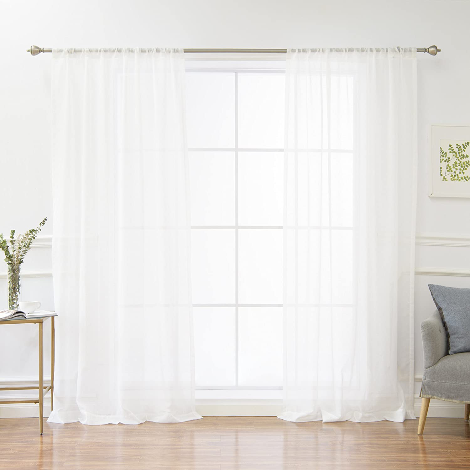 Sheer Bordered Tassel Applique Rod Pocket Window Curtain Panel Pair, Winter White