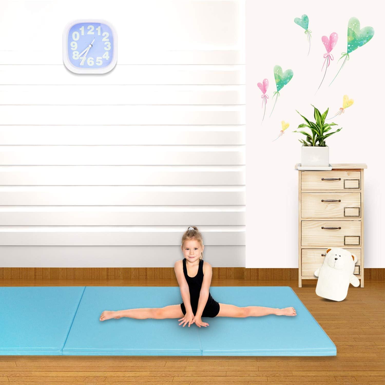 CCLIFE Colchoneta Plegable de Espuma para Gimnasia Yoga Deportiva Yoga estrilla Triple Plegable