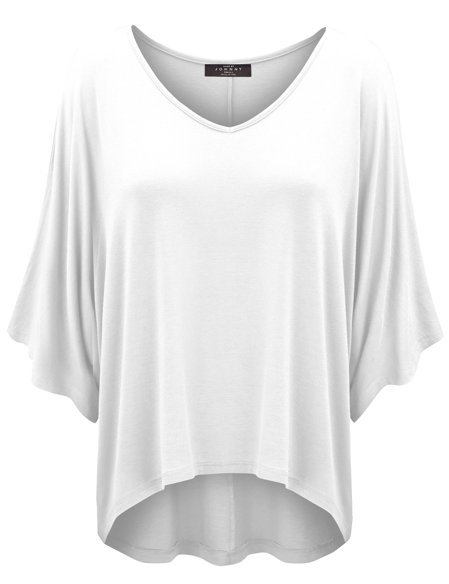 Made By Johnny WT1106 Womens V Neck Square Sleeves Oversized Loose Fit Top M White