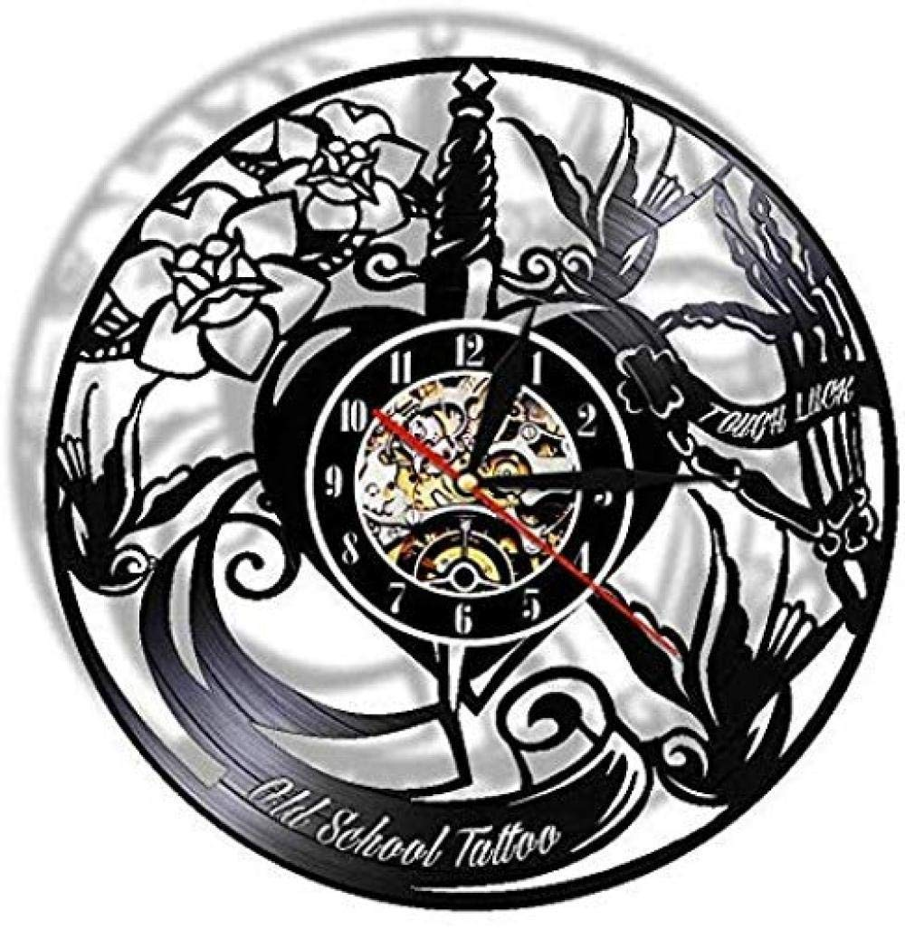 CHANGWW Reloj de Pared Old-School Tattoo Studio Disco de Vinilo ...