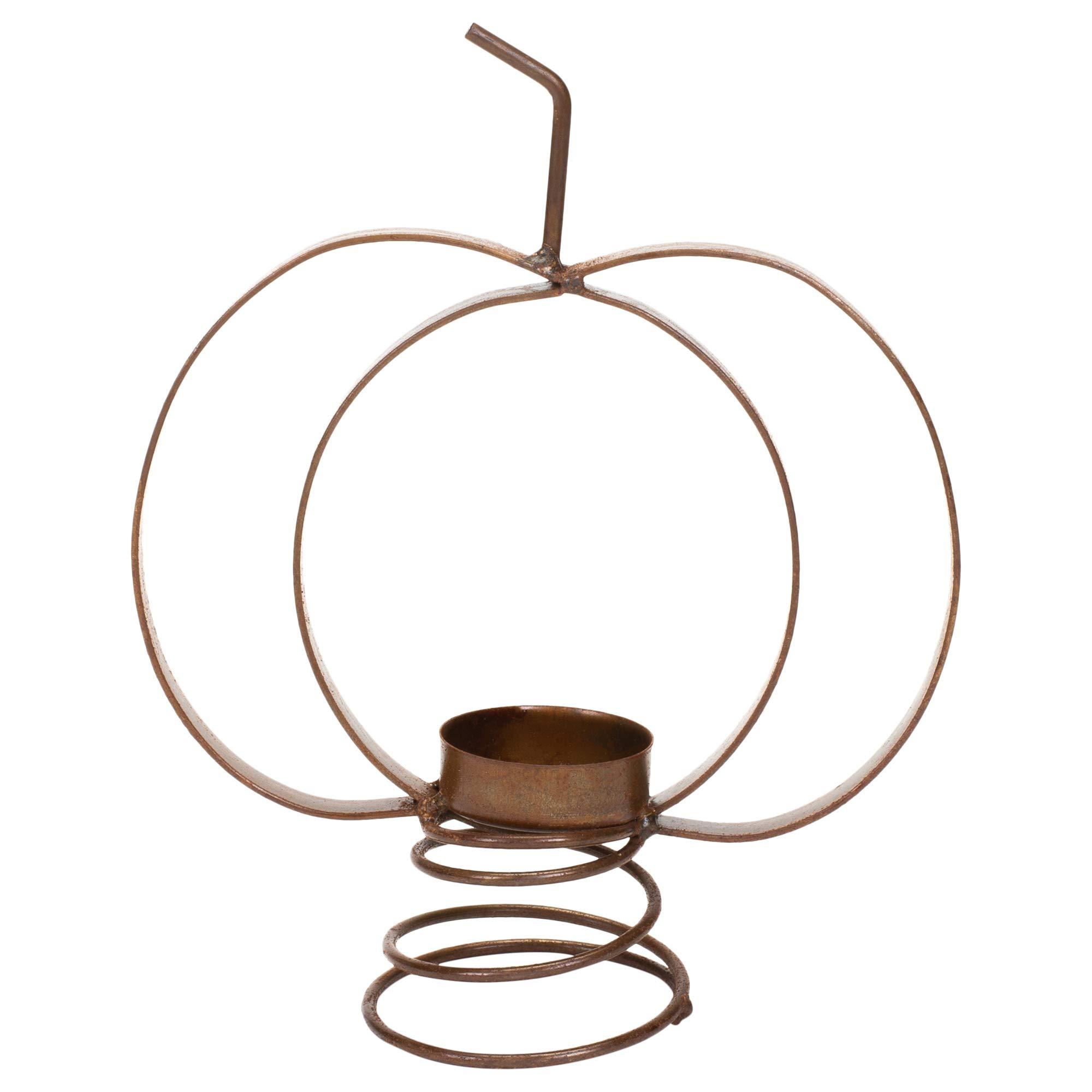 Honey & Me 8'' x 6.25'' Metal Spring Base Pumpkin Shaped Tea Light Candle Holder