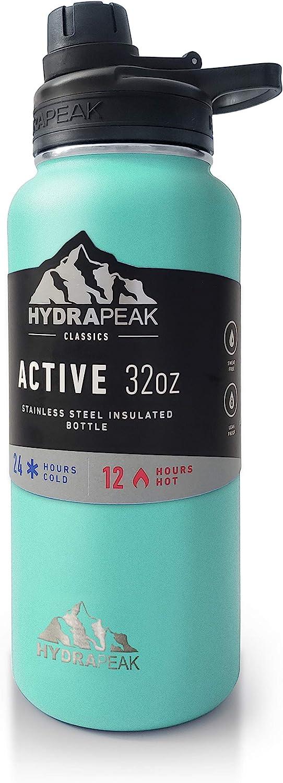 Hydrapeak 32oz Stainless Steel Water Bottle with Leak Proof Chug Lid. Vacuum Insulated Triple Walled Sports Flask