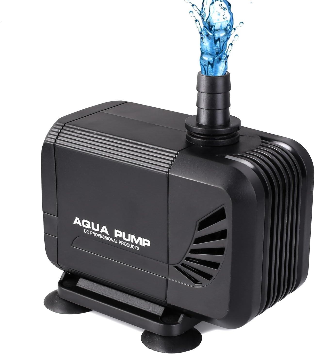 MVPower Bomba de Agua Sumergible Bomba para Estanque Fuente Acuario Potencia de 40W Velocidad de Flujo de 3000L/H Cabezal Hidráulico de 2.8M Boquilla
