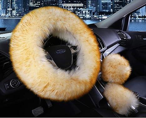 amazon com universal 3 in 1 furry steering wheel cover wool furuniversal 3 in 1 furry steering wheel cover wool fur handbrake cover fit most car yellow