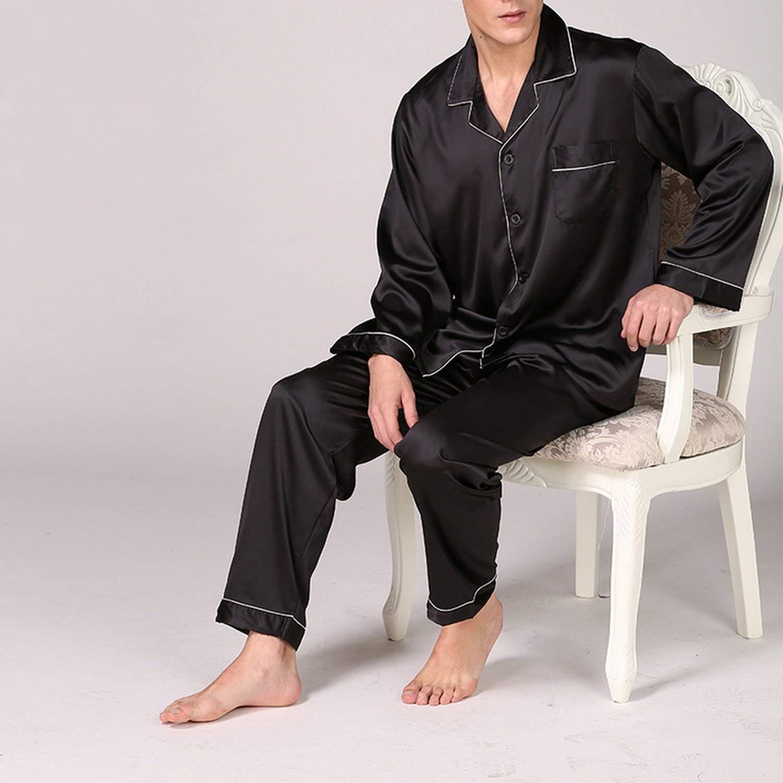 mamamoo Mens Silky Pyjamas Set Spring Autumn 2Pc Sets Men Sleepwear Pant/&Shirt Set Thin Soft