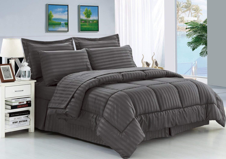 Eleganten Komfort knitterfrei – seidig weich Dobby Stripe Bed-in-a-Bag 8-teilig Tröster Set – -Hypoallergenic – King grau
