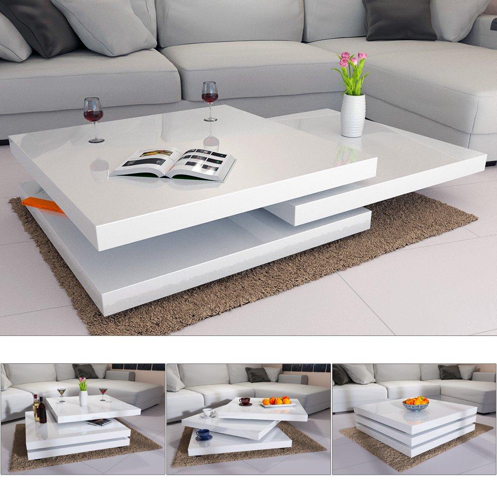 Deuba Couchtisch Hochglanz Weiß 360 Drehbar Cube Design Modern 80