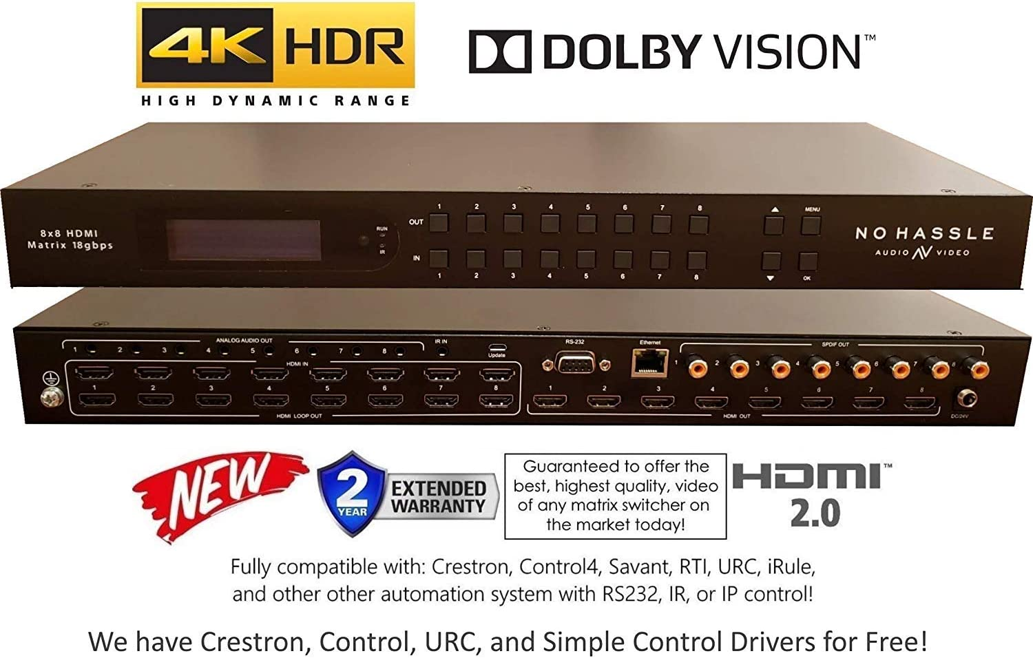 8x8 HDMI 4K HDR Matrix Switcher 18GBPS Ultra YUV 4:4:4 HDCP2.2 60Hz HDMI 2.0B Dolby Atmos HDTV Routing SELECTOR SPDIF Audio CONTROL4 Savant Home Automation Switch IP RS232