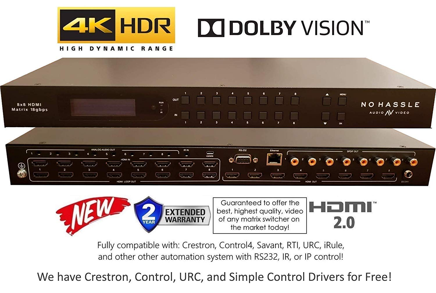 8x8 HDMI 2.0 HDR 4K 18GBPS 60HZ Matrix Switcher Dolby Vision HDR10 YUV 444 HDCP2.2 SPDIF Control4 Savant Home Automation Routing Selector (8x8 HDMI HDR)