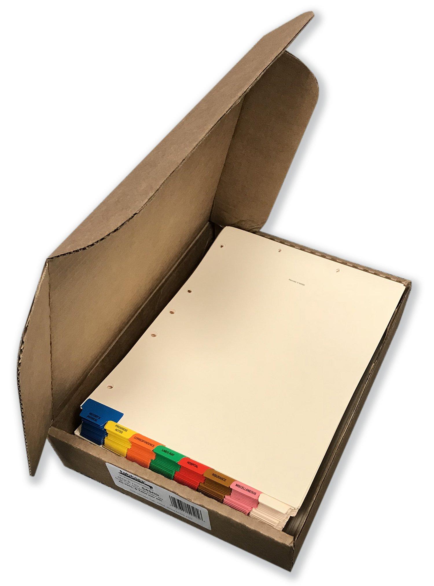 Tabbies Bottom Tab Medical Patient Chart Index Divider Set, 90lb Ivory Index, 3/8'' Tab Extension, 8 Tabs/Set, 40 Sets/Boxsds (54500)