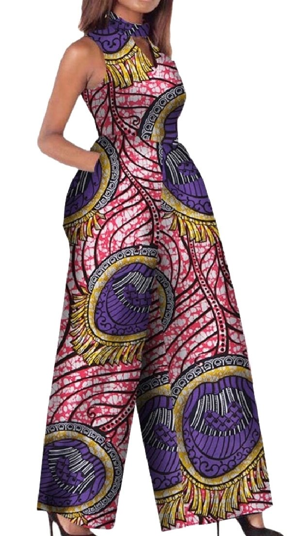 ainr Women's Fashion African Wax Fabric Classy Fine Cotton Playsuit Jumpsuits 1 XL
