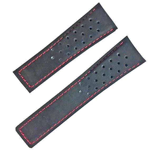 24 mm correa de piel de ante negro reloj banda Compatible con Tag Heuer cierre desplegable de punto de color rojo: Amazon.es: Relojes