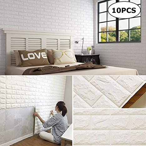 CHMINIG White Brick 3D Self-Adhesive Wall Panels Faux Foam Bricks Wallpaper  for Living Room Bedroom Background Wall Decoration(10 Pack,White 57.5 sq ...