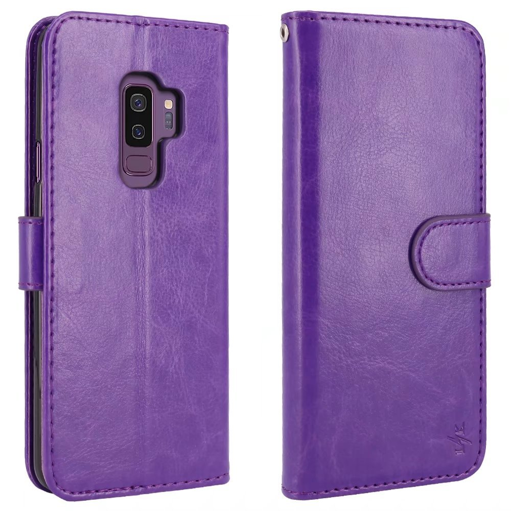 LK Galaxy S9 Plus Case, [Wrist Strap] Luxury PU Leather Wallet Flip Protective Case Cover with Card Slots and Stand for Samsung Galaxy S9 Plus (Purple) by LK (Image #3)