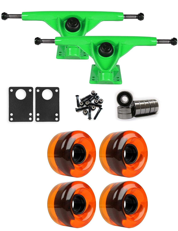 RKPグリーンLongboardトラックホイールパッケージ62 mm x 40 mm 83 a 151 Cオレンジクリア   B01IJ8IAYC