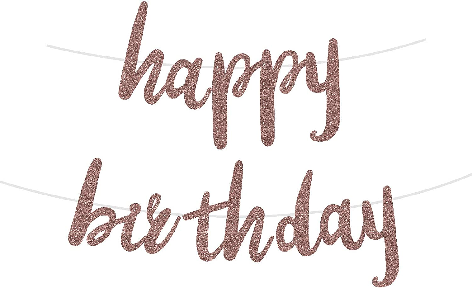 Rose Gold Glittery Happy Birthday Banner for Birthday Party Celebrations Decorations