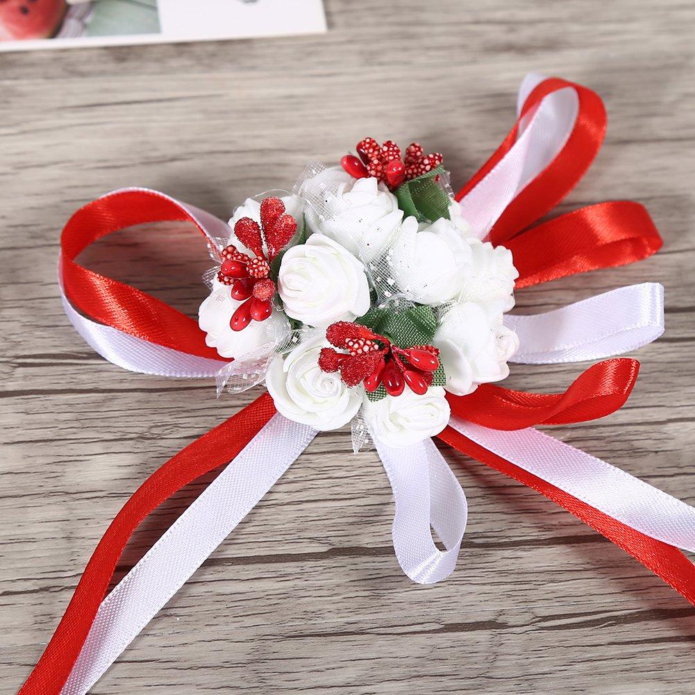 Silver 1Pc bellissimo polso Corsage Ribbon per la sposa damigella donore Prom Wedding Party Decorations Asixx Da polso fiore