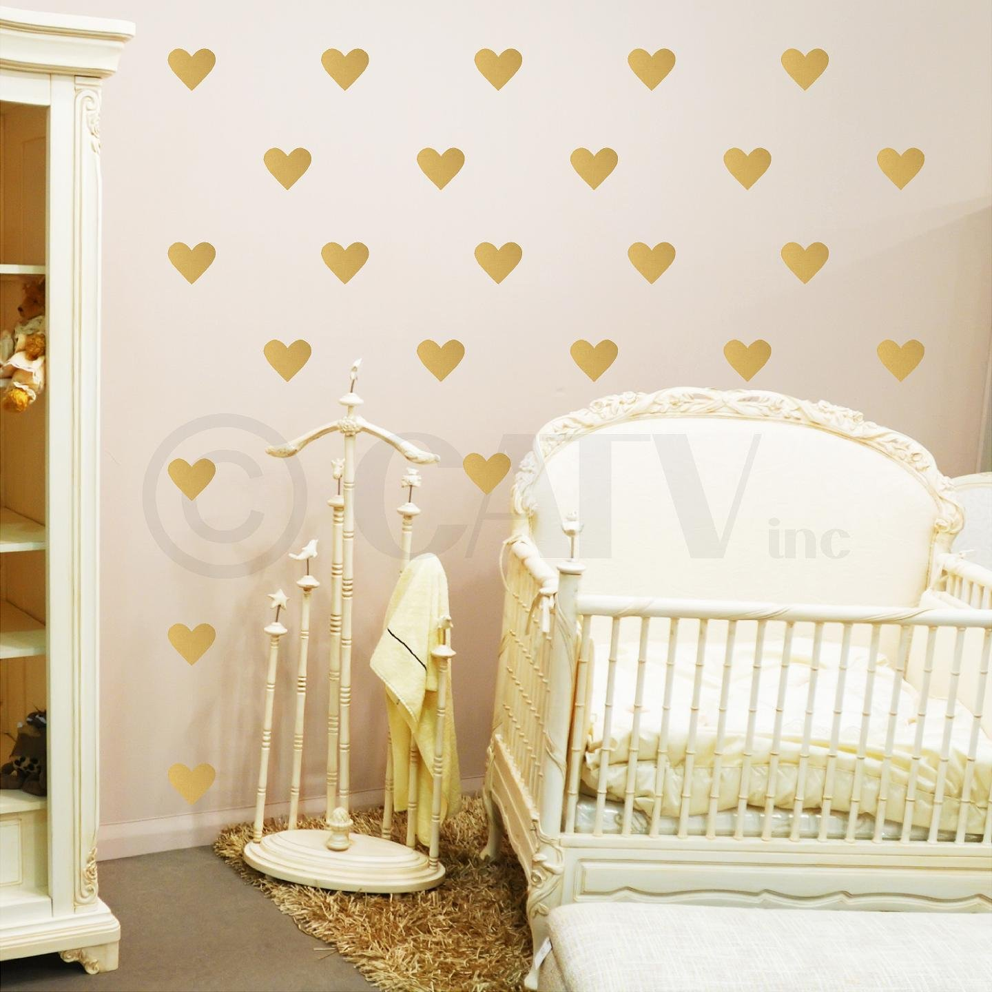 2 set of 120, White Hearts Vinyl Lettering Wall Pattern Decal Stickers