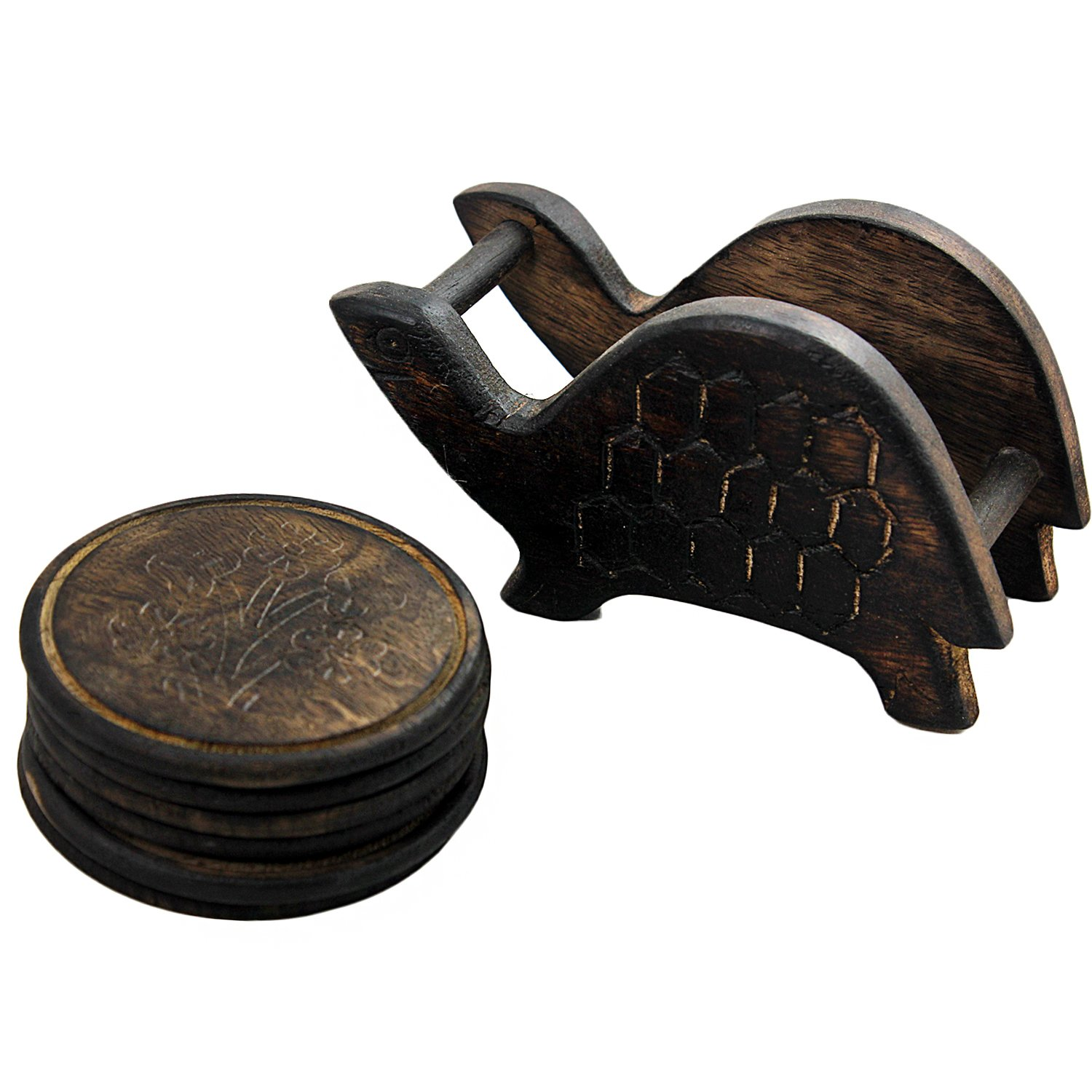 Gifts From India Turtle Shape Wooden Coasters Stand With Set of 6 pcs Coasters (Stand Size : 5.75''x2.5''x4'', Coaster Size : 3.25'' x 3.25'')