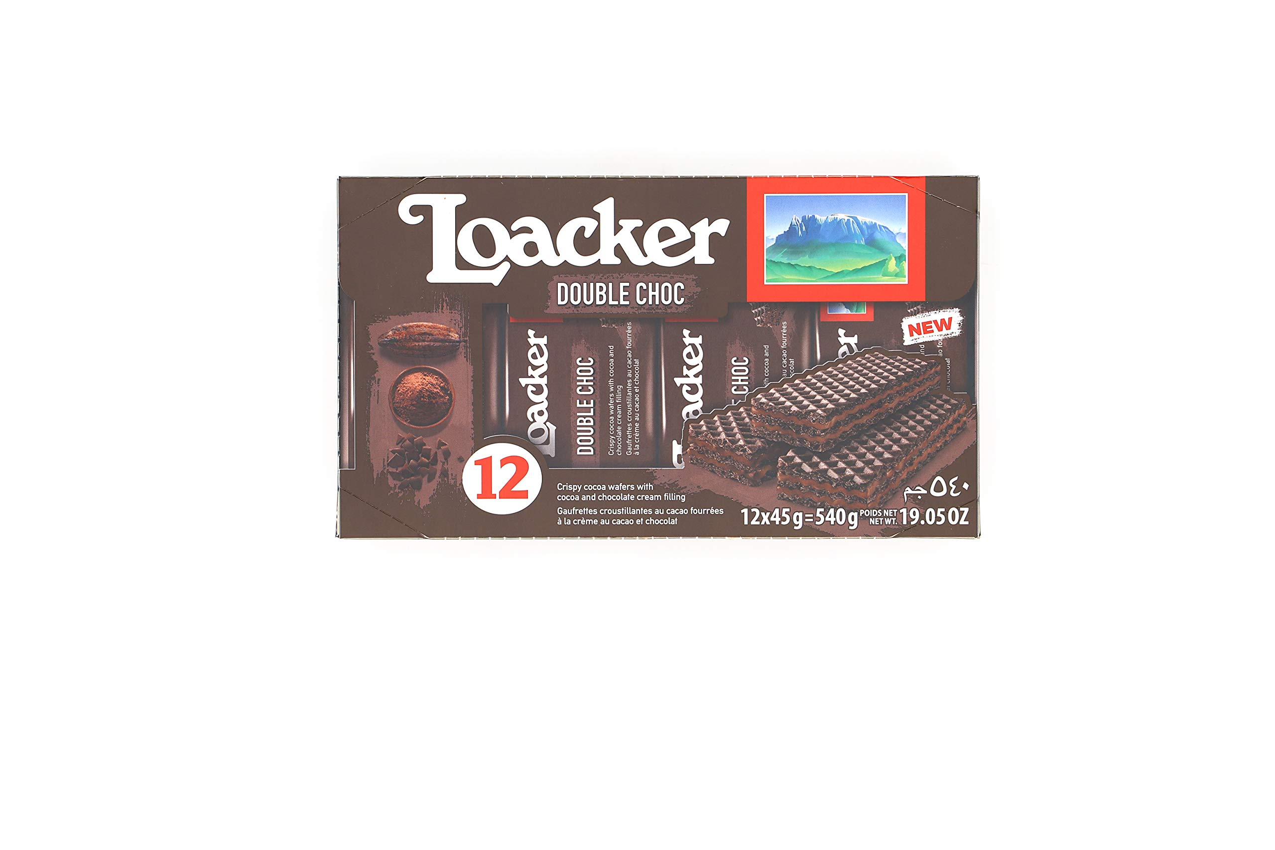 Loacker Premium Double Chocolate Wafers, 45g/1.59oz, pack of 12