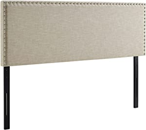 Modway Phoebe Linen Fabric Upholstered Full Headboard in Beige with Nailhead Trim