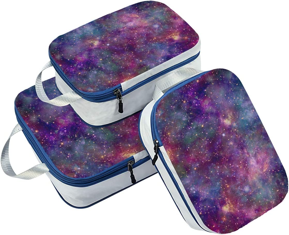 Space Galaxy 3 Set Packing Cubes,2 Various Sizes Travel Luggage Packing Organizers g