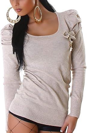 Jela London Damen kurzer Schleifen Pullover tailliert Goldfarbene Deko Elemente Rücken Dekolleté (34 36 38)
