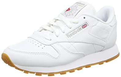 Reebok Womens Classic Leather Gymnastics Shoes, White (Intense White/Gum), 3