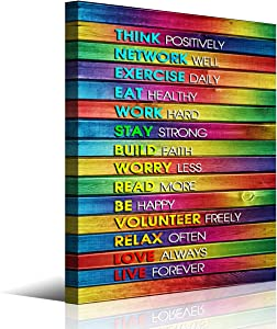 Inspirational Wall Art for Office Wall Decor,Colorful Wooden Background Motivational Pictures Canvas Wall Art for Living Room Bedroom Bathroom Wall Decor,Ready to Hang Home Decorations,12x16inches.