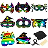 Halloween Magic Scratch Rainbow Paper Masks, 24 Pack Colorful Scratch Art Mask with Elastic Ropes and Wood Stylus, 8…