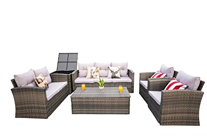 Direct Wicker Patio Furniture 6 Piece Outdoor Wicker Sectional Sofa Set  With Wicker Storage Box And