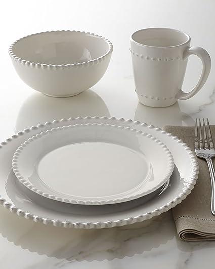 Bianca Bead Round 16 Piece Dinnerware Set Color White & Amazon.com | Bianca Bead Round 16 Piece Dinnerware Set Color: White ...