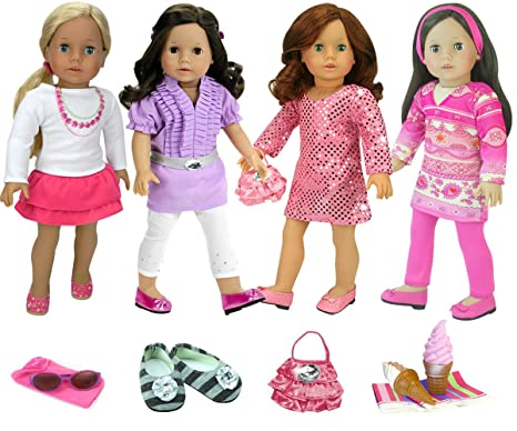 3744ff28f1 Image Unavailable. Image not available for. Color  15 Piece Doll Clothing  Set with Accessories by Sophia s for 18 Inch Dolls