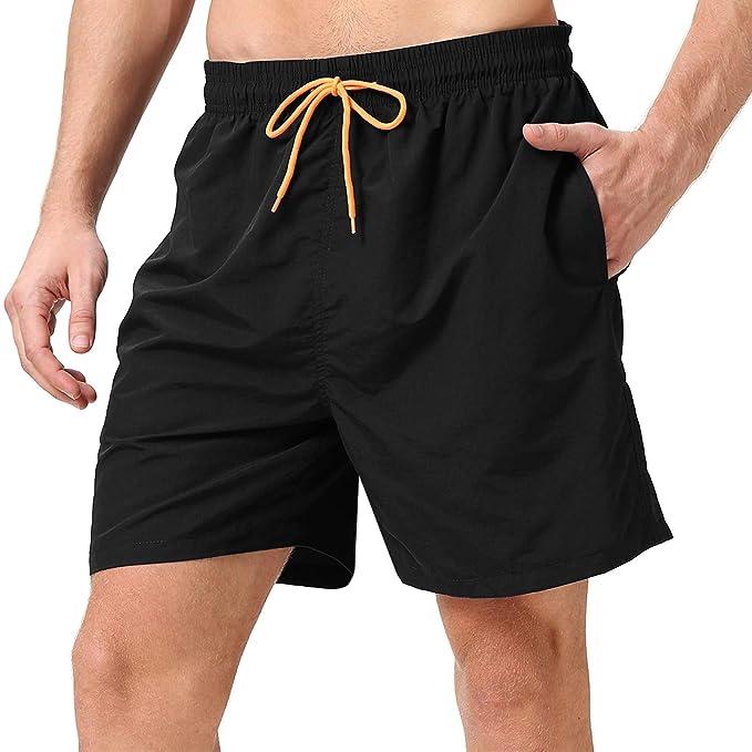 8b89e58c15 LANYI Men's Swim Trunks Quick Dry Beach Shorts with Pockets Mesh Lining  (Black, US