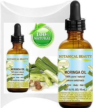 MORINGA OIL - Moringa oleifera WILD GROWTH Himalayan. 100% Pure/Natural/Undiluted/Virgin/Unrefined. 0.5 Fl.oz.- 15 ml. For Skin, Hair, Lip and Nail Care.