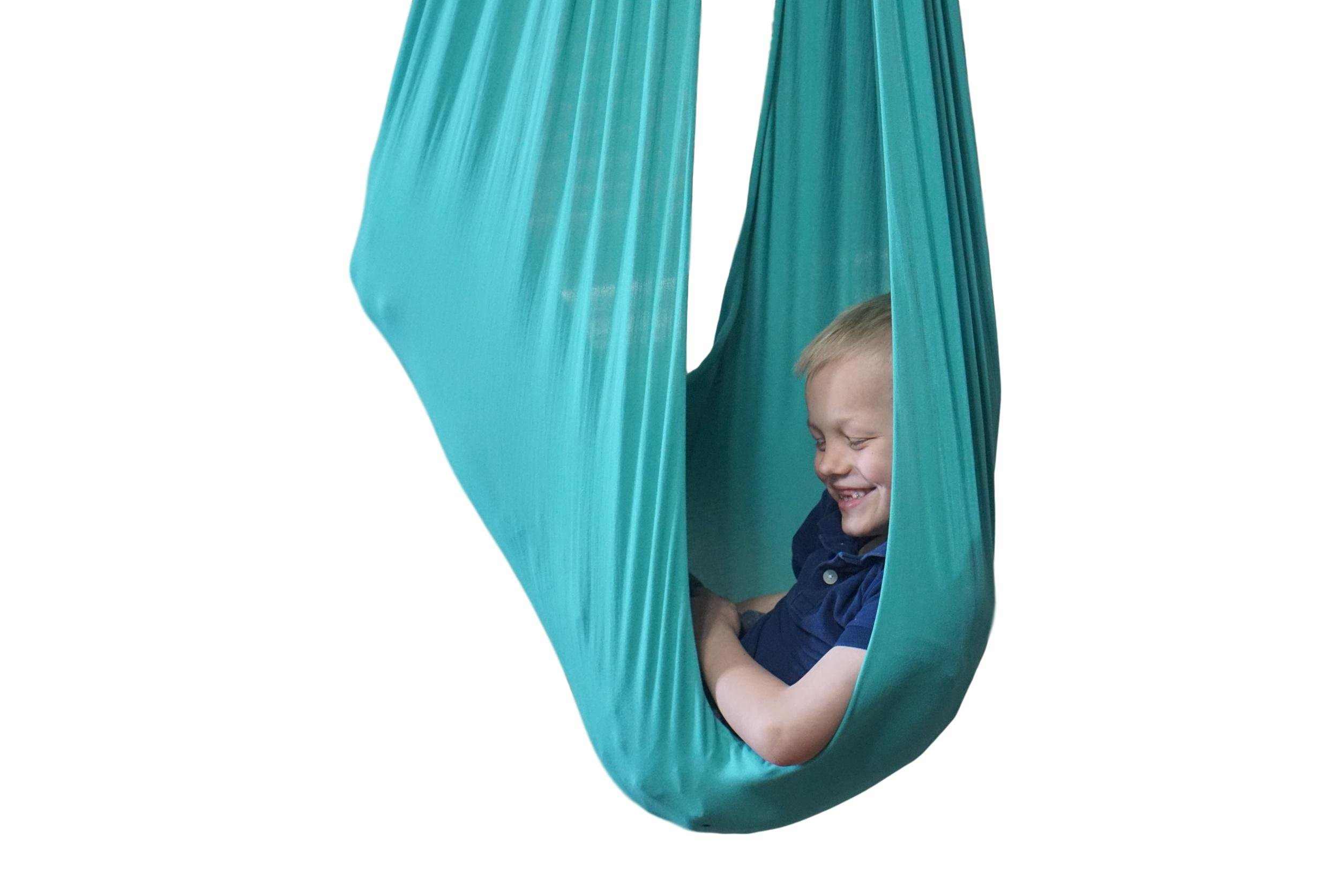 Indoor Therapy Swing for Kids with Special Needs by Sensory4u (Hardware Included) Snuggle Swing | Cuddle Hammock for Children with Autism, ADHD, Aspergers | Great for Sensory Integration (Aqua Color)