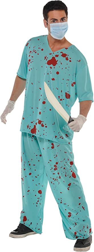 Amazon.com: Amscan 841778 Bloody Scrubs Suit Costume, Adult Standard Size, 1 Piece: Toys & Games