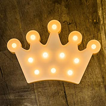 Foaky LED Lights Crown Shaped LED Plastic Light Up Sign for Night Light Wedding Birthday Party Battery Powered Christmas Lamp Home Bar Decoration