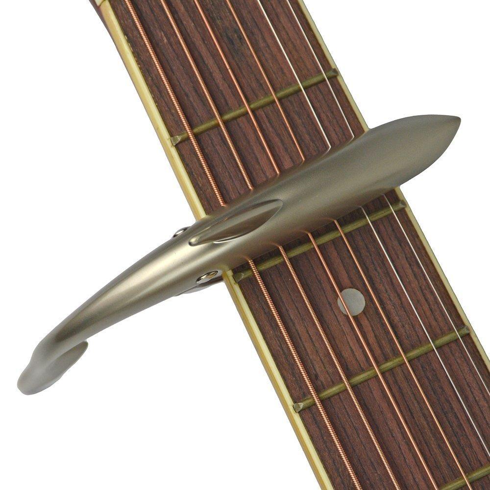 Cejilla para guitarra acústica y eléctrica de tiburón Capo de aleación de zinc para 6 cuerdas de guitarra con buena sensación de mano, sin traste de zumbido ...