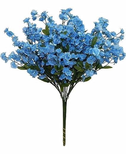 Amazon.com: 12 Baby\'S Breath Spray Light Blue Silk Flowers Wedding ...