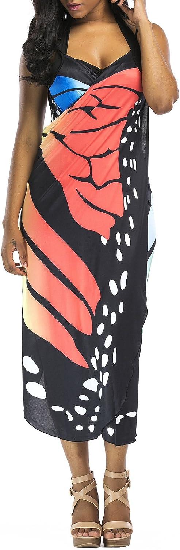 Vestito Senza Maniche Donna Estate Boho Chic Abiti da Spiaggia Casual Farfalla Abito Bretelle Copricostume Mare Vestiti Taglie Forti da Cocktail Cerimonia Partito Bikini Cover Up Wrap Dress Beachwear