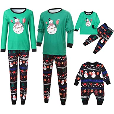 6a446ca2b Matching Christmas Pjs for Family,Family Matching Cartoon Snowman Print  Christmas Cotton Soft Holiday Pj