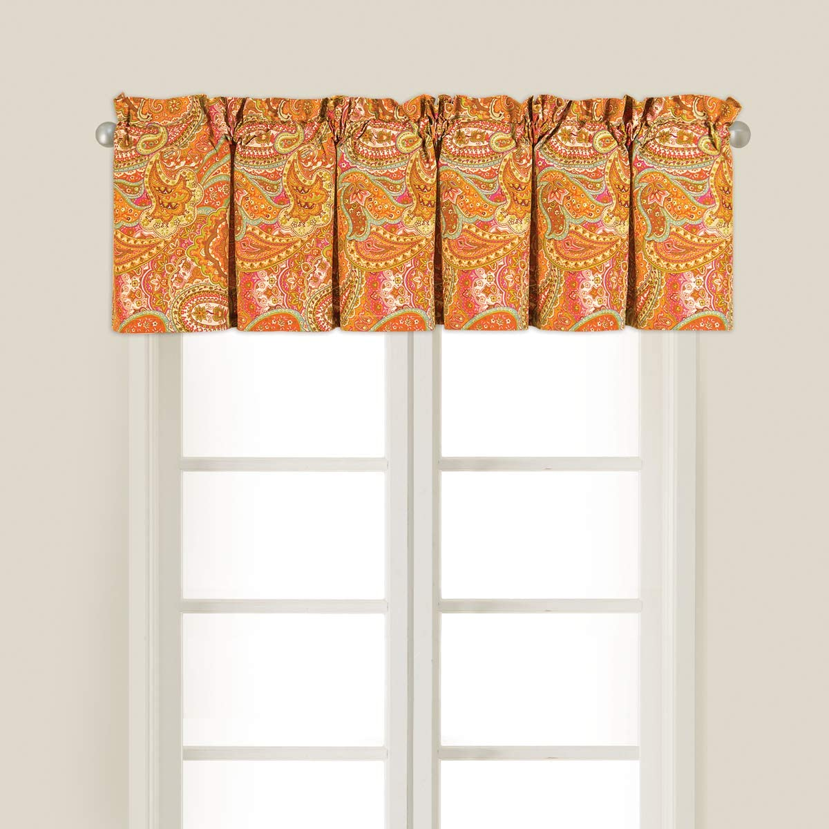 C&F Home Veda Orange Traditional Paisley Spring Summer Cotton Bedroom Guestroom Premium Window Woven Valance Valance Orange