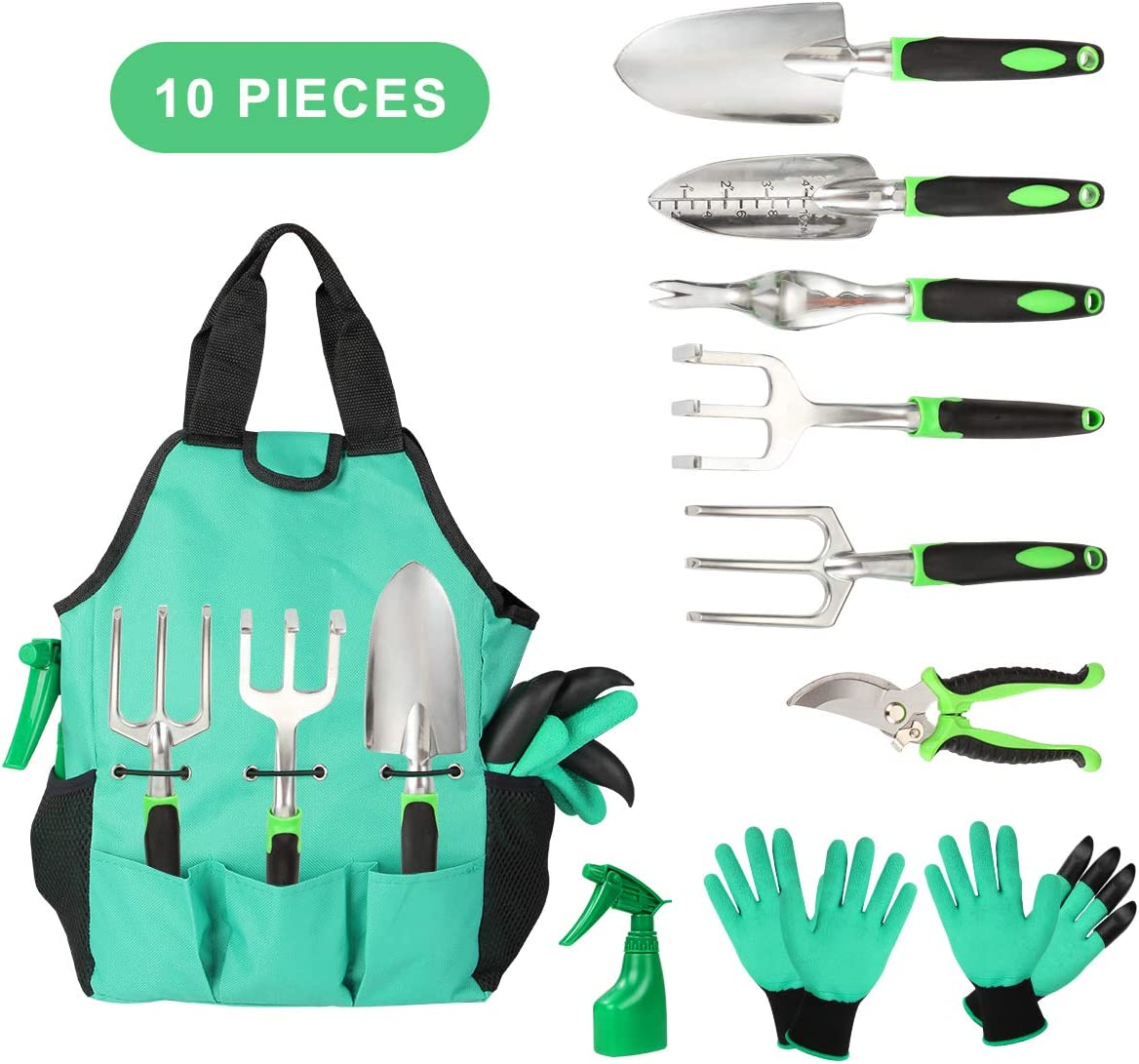 Aladom Garden Tools Set 10 Pieces, Gardening Kit with Heavy Duty Aluminum Hand Tool and Digging Claw Gardening Gloves for Men Women, Green : Garden & Outdoor