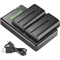 Neewer NP-F550 Battery Charger Set for Sony NP F970,F750,F960,F530,F570,CCD-SC55,TR516,TR716,and More (2-Pack Battery…