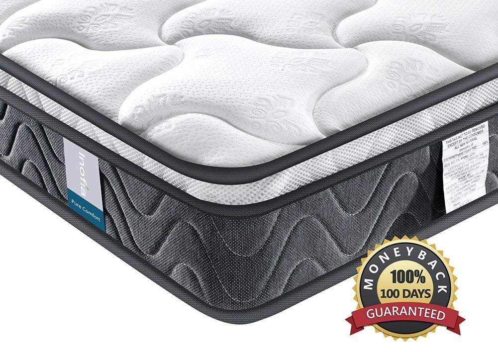 Double Mattress, Inofia Sleeping Super Comfort Hybrid Innerspring Queen Mattress Set with 3D Knitted Dual-Layered Breathable Cover-8''-Certified by CertiPUR-US-100 Night Trial