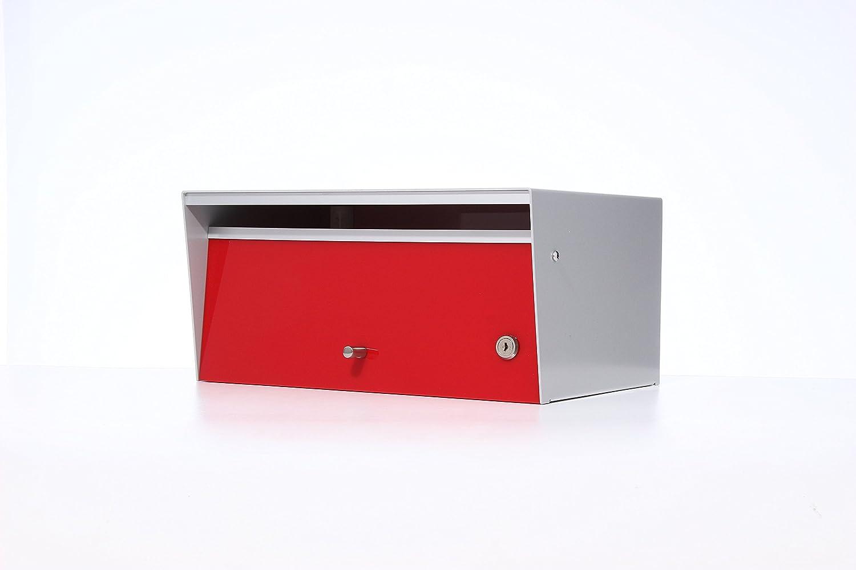 Box Design 郵便受け ポスト Metro(メトロ) [玄関先/3way 埋め込み式スタンド式壁掛け式/鍵付/B4厚手サイズ対応/ワイドフェイス/レッド] B07D282D3B 28620 レッド レッド