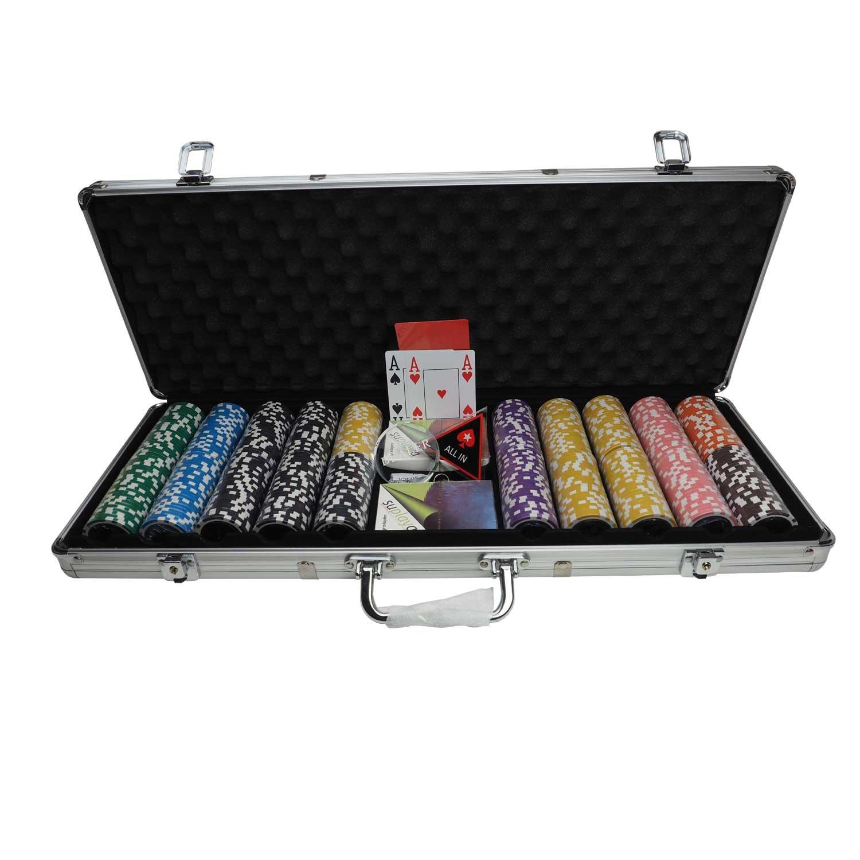 suplaya Pokerkoffer Pokerset Luxus 13g Clay Chips edles Zubehö r Plastikkarten eigene Sortierung Marke (Cash-Game 1)